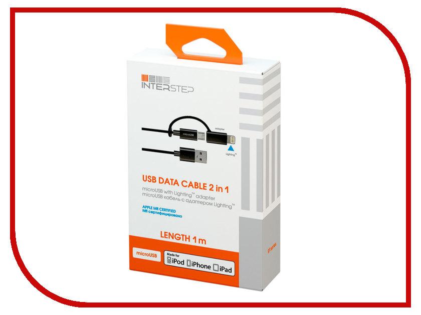 Аксессуар InterStep MFI USB - Lightning 8-Pin / MicroUSB 1m MICIP5MFI 37165<br>