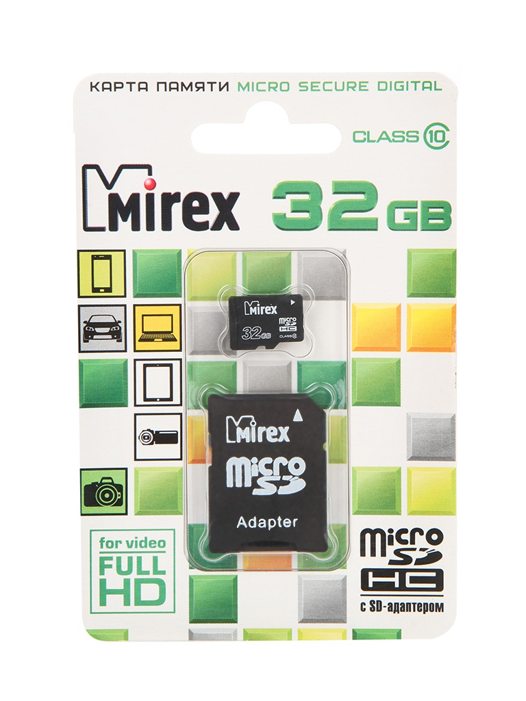 Карта памяти 32Gb - Mirex Micro Secure Digital HC Class 10 13613-AD10SD32 с переходником под SD