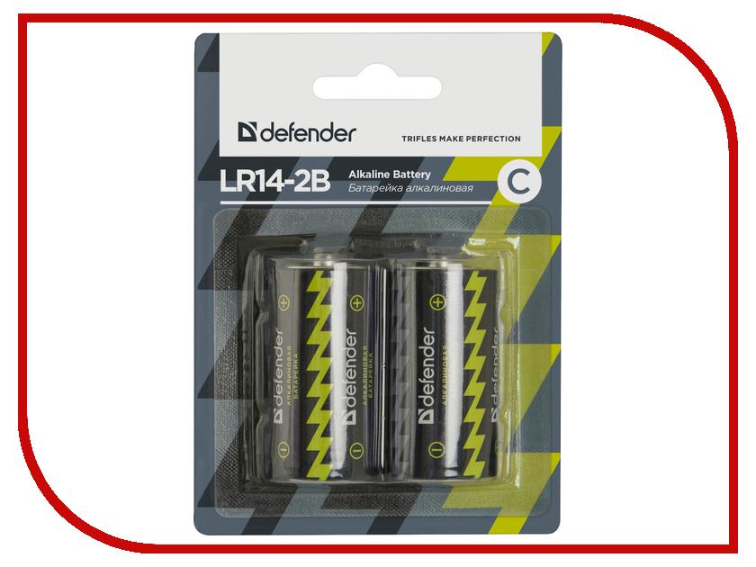 Батарейка C - Defender Alkaline LR14-2B 56032 (2 штуки)<br>