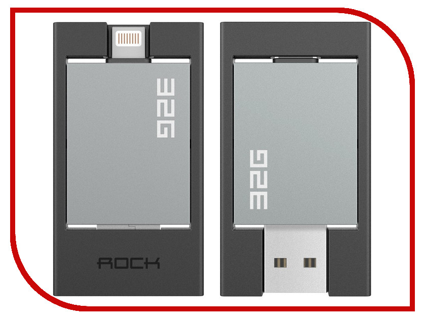 Гаджет ROCK Flash Drive 32 Gb MFI для APPLE iPhone / iPad Lightning Space Grey<br>