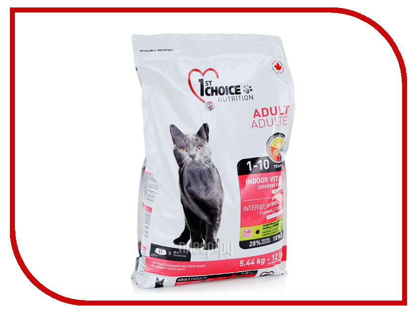 Корм 1st CHOICE Vitality Цыпленок 907g для домашних кошек 102.1.211 корм сухой 1st choice adult для живущих в помещении взрослых кошек с курицей 350 г