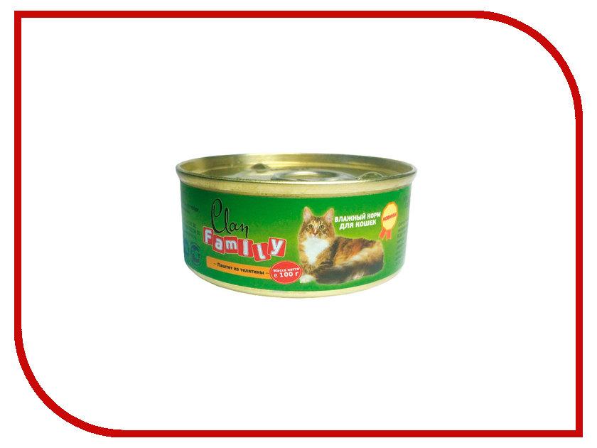 Корм Clan Family Паштет из телятины 100g для кошек 130.1.504<br>