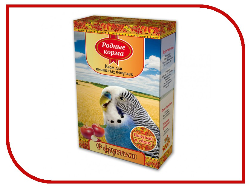 Корм Родные Корма с фруктами 500г для волнистых попугаев 60857