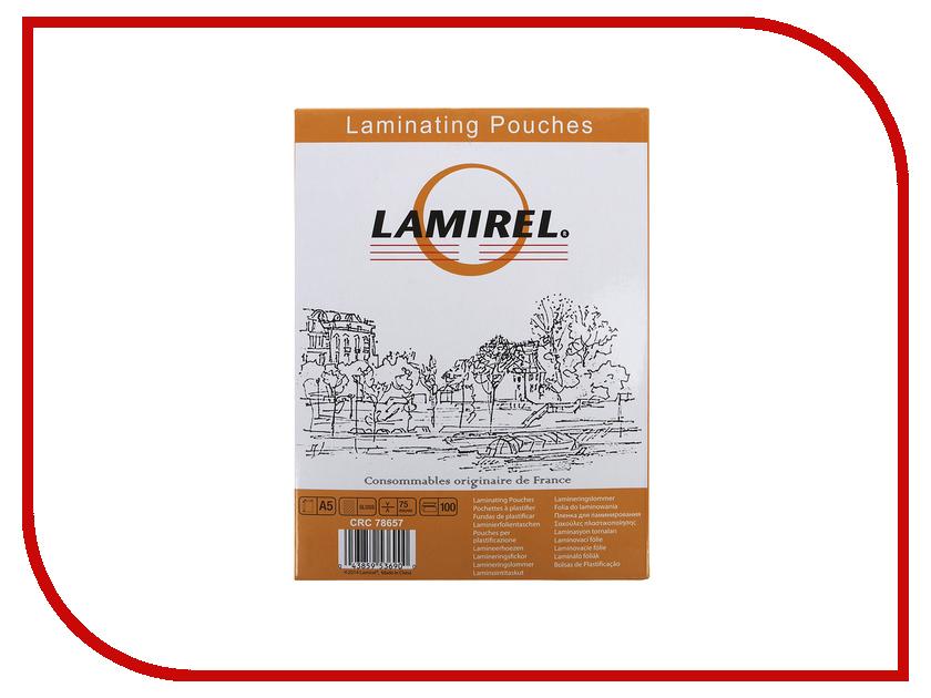 Пленка для ламинатора Fellowes 75мкм А5 100шт глянец LA-7865701<br>