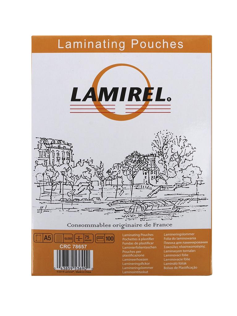 Пленка для ламинирования Lamirel 75мкм А5 100шт глянец LA-7865701