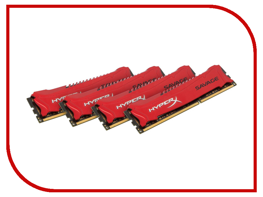 Модуль памяти Kingston HyperX Savage DDR3 DIMM 1600MHz PC3-12800 CL9 - 32Gb KIT (4x8Gb) HX316C9SRK4 / 32