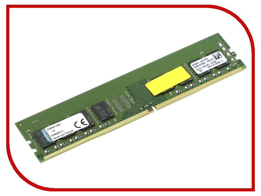 Модуль памяти Kingston DDR4 DIMM 2400MHz PC4-19200 CL17 - 8Gb KVR24N17S8/8