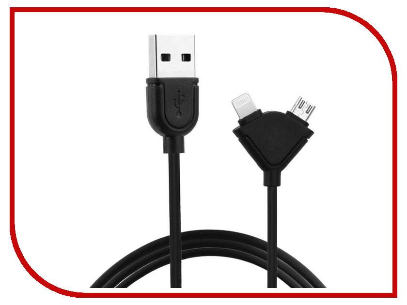 Аксессуар Remax Lightning + microUSB Souffle RC-031T для iPhone 6/6 Plus 1m Black 14387<br>