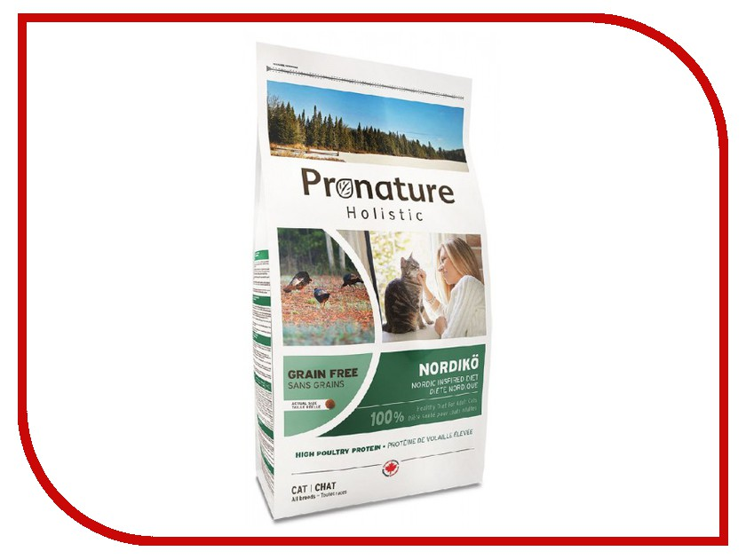 Корм Pronature Holistic Нордико GF 340g для кошек 102.3000 сухой корм pronature holistic adult cat skin
