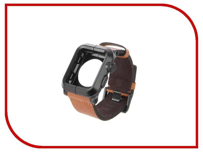 Аксессуар Браслет APPLE Watch 42mm LunaTik Epik Aluminum Black With Brown Leather Band