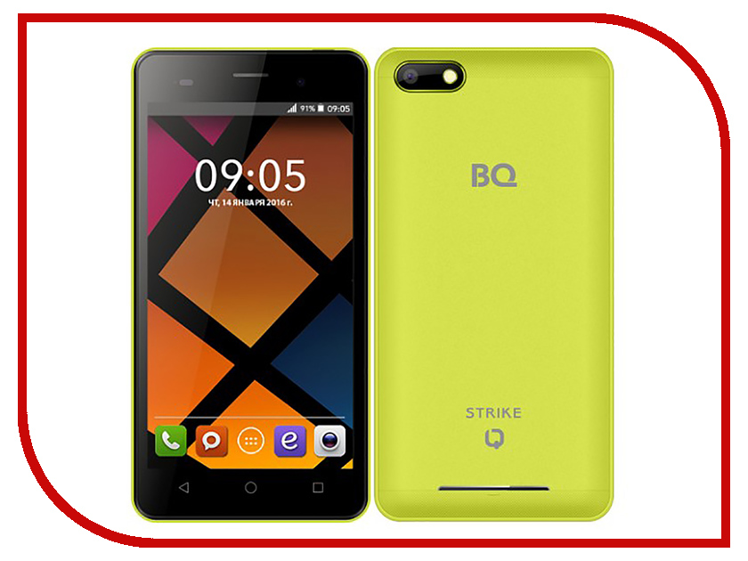 Сотовый телефон BQ BQS-5020 Strike Yellow bq mobile bq bqs 5050 strike selfie розовый