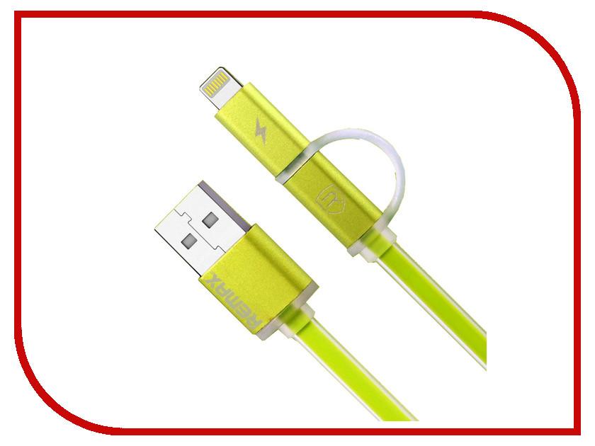 Аксессуар Remax Lightning + microUSB Aurora для iPhone 6/6 Plus 1m Green 14308<br>