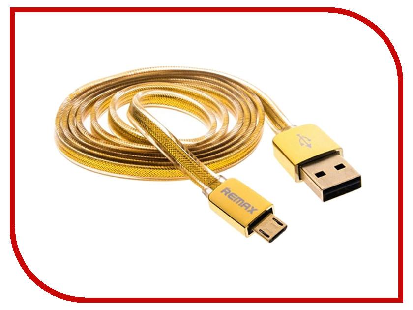 Аксессуар Remax USB - MicroUSB 1m Gold 14426<br>