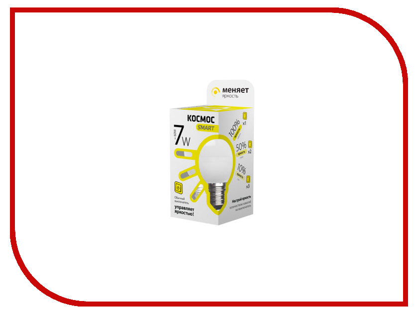 Лампочка Космос Smart LED E14 7W 220V 3000K LksmLEDSD7wGL45E1430<br>