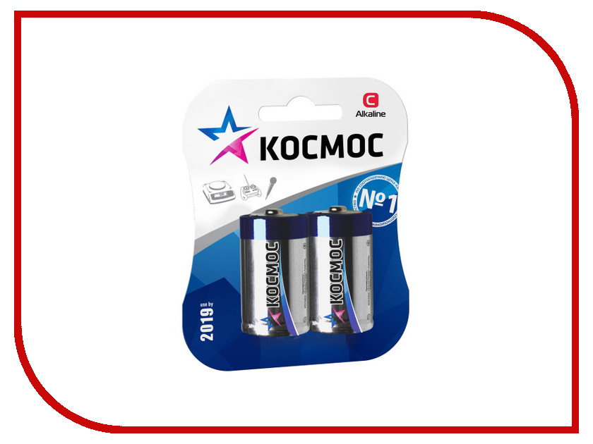 Батарейка C - Космос Alkaline LR14-2BL KOCLR14MAX2BL (2 штуки)<br>