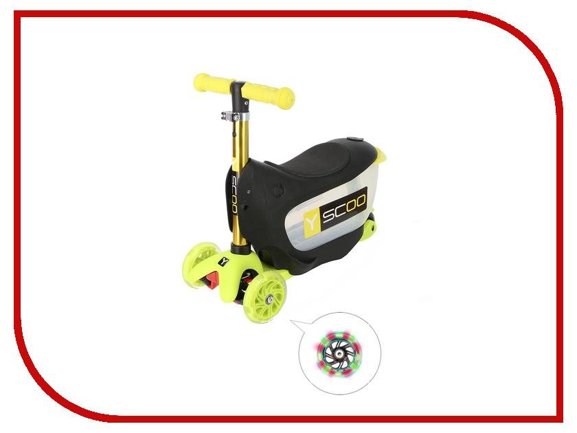Самокат Y-SCOO Mini Jump&amp;Go Yellow со светящимися колесами<br>
