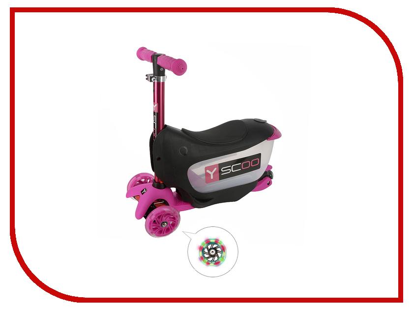 Самокат Y-SCOO Mini Jump&Go Pink со светящимися колесами y scoo mini glam купить