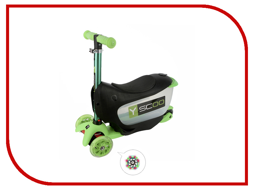 Самокат Y-SCOO Mini Jump&Go Green со светящимися колесами