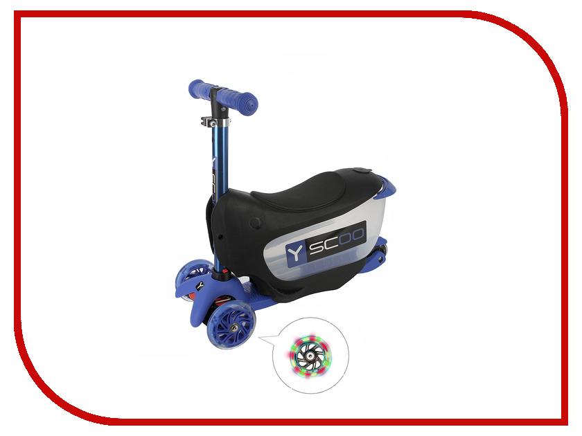 Самокат Y-SCOO Mini Jump&Go Dark Blue со светящимися колесами