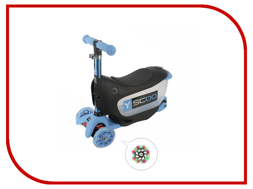 Самокат Y-SCOO Mini Jump&Go Aqua со светящимися колесами