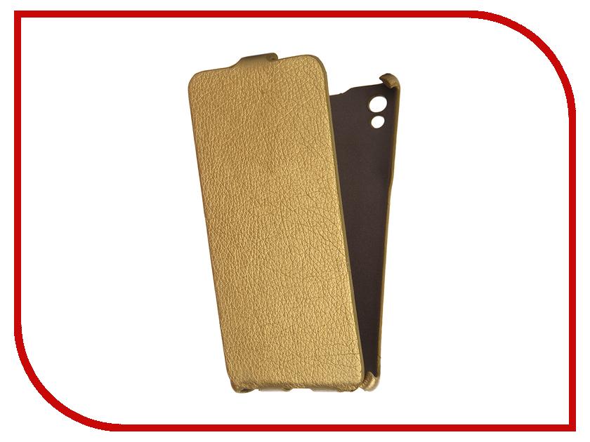 Аксессуар Чехол Sony Xperia Z5 Cojess Ultra Slim Экокожа Флотер Gold