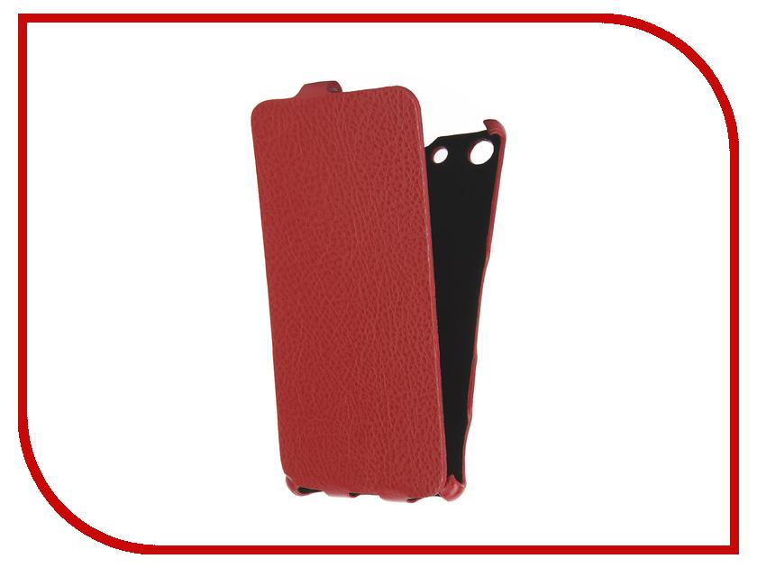 Аксессуар Чехол Sony Xperia M5 Cojess Ultra Slim Экокожа Флотер Red