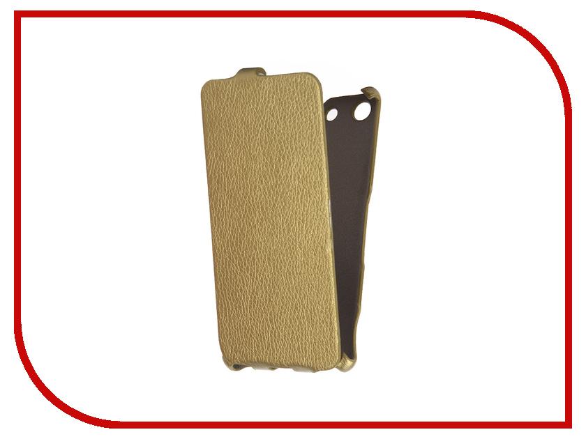 Аксессуар Чехол Sony Xperia M5 Cojess Ultra Slim Экокожа Флотер Gold<br>
