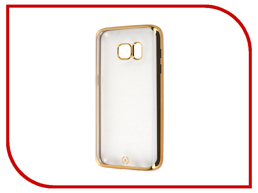 Аксессуар Чехол Samsung Galaxy S7 Celly Laser Transparent-Gold BCLGS7GD<br>