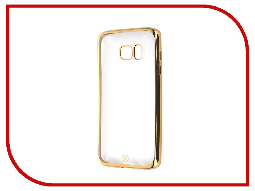 Аксессуар Чехол Samsung Galaxy S7 Edge Celly Laser Transparent-Gold BCLS7EGD<br>