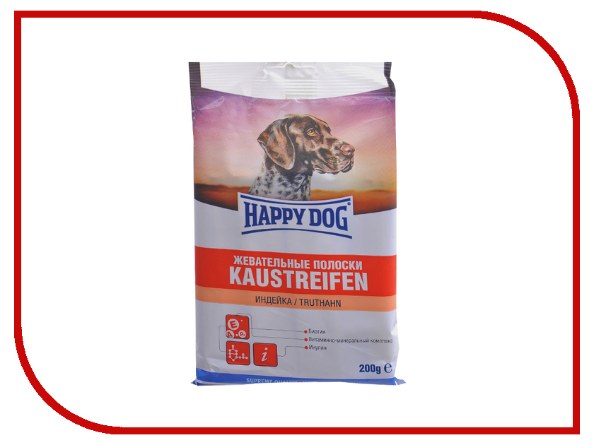 Лакомство Happy Dog Полоски жевательные Индейка 200g 190103/0081<br>