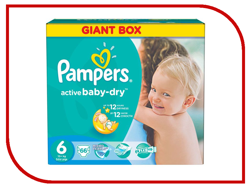 Подгузники Pampers Active Baby-Dry Extra Large 15+кг 66шт 4015400737155<br>