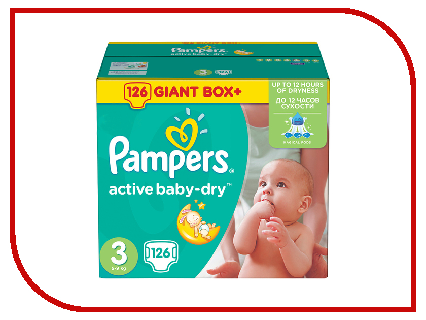 Подгузники Pampers Active Baby-Dry Midi 5-9кг 126шт 4015400737230<br>