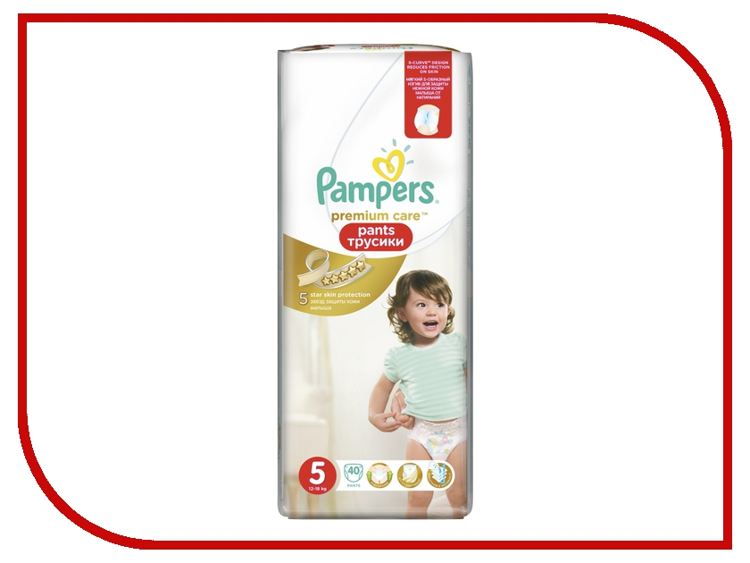 Подгузники Pampers Premium Care Pants Junior 12-18кг 40шт 4015400772101 подгузники greenty 5 12кг 40шт grep 5m