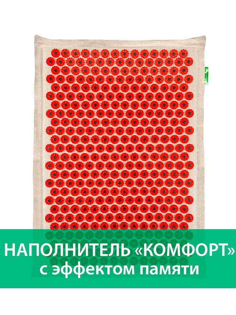 Аппликатор Тибетский аппликатор Комфорт с эффектом памяти на мягкой подложке большой для чувствительной кожи магнитный 41х60см Red