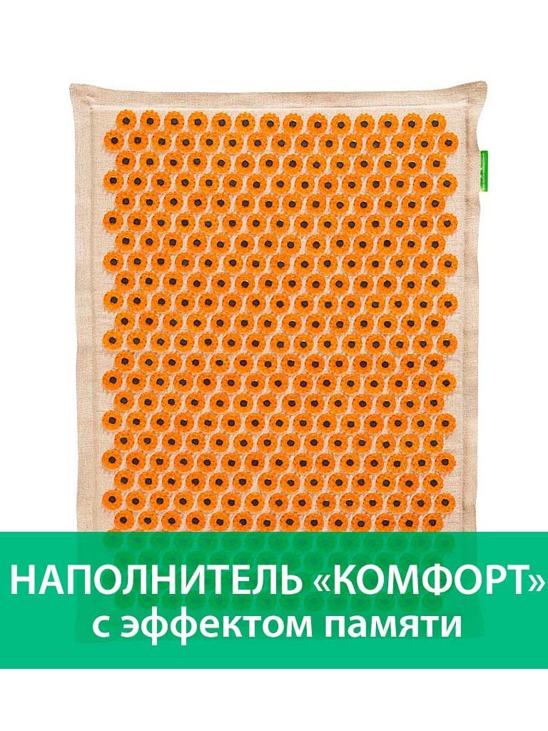 Аппликатор Тибетский аппликатор Комфорт с эффектом памяти на мягкой подложке большой для интенсивного воздействия магнитный 41х60см Yellow
