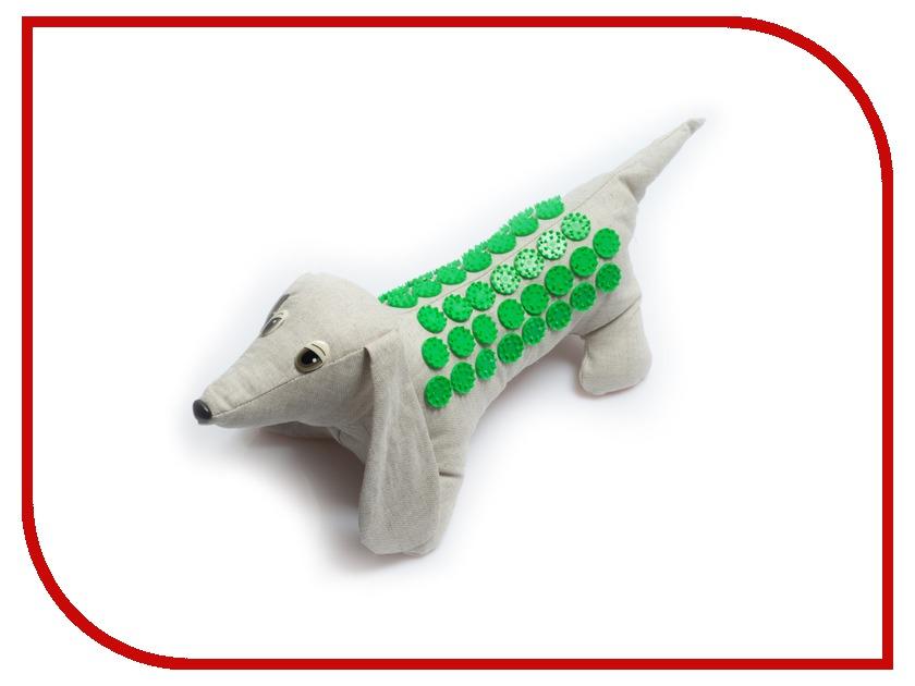 Массажер Тибетский аппликатор Кузнецова Собака на мягкой подложке с менее острыми иглами Green
