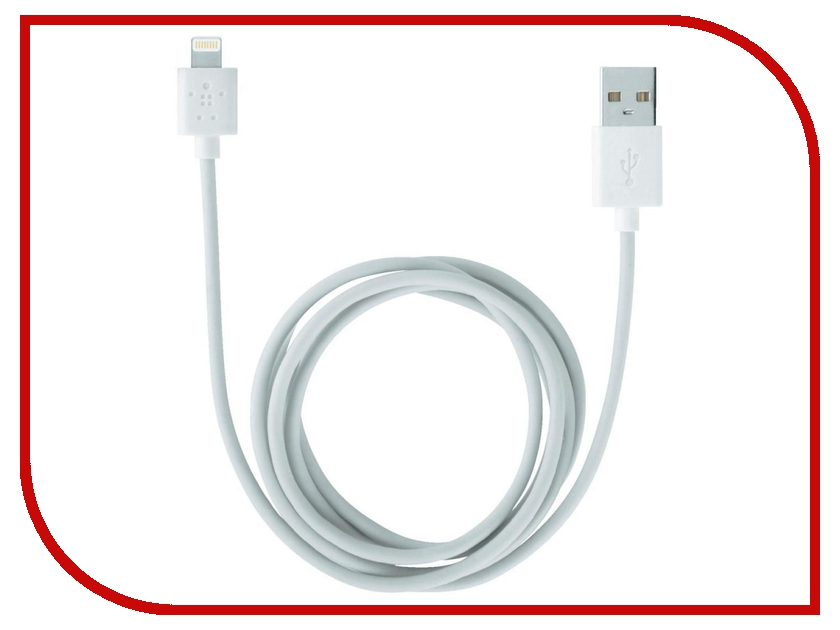 Аксессуар Belkin Lightning to USB Cable 1.2 m White F8J023bt04-WHT<br>