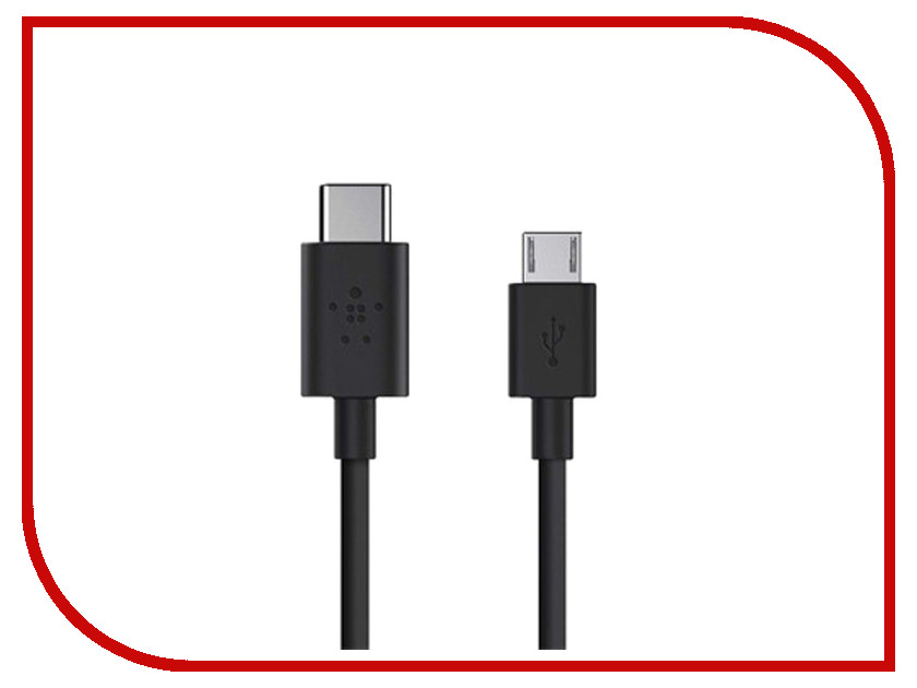 Аксессуар Belkin USB-C to Micro USB Charge Cable Black F2CU033bt06-BLK<br>