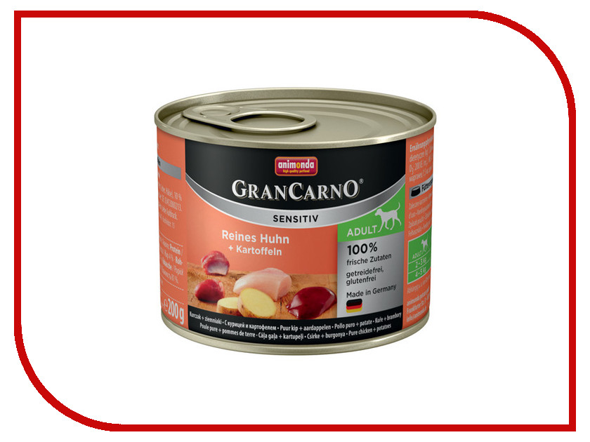 Корм Animonda Gran Carno Sensitiv Курица/Картофель 200g для собак 001/82403 корм tomi птица 300g 133 008 для собак