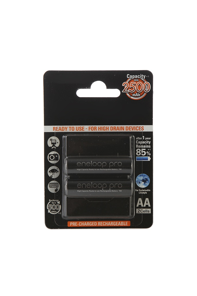 Аккумулятор AA - Panasonic Eneloop Pro 2500 mAh (2 штуки) BK-3HCDE/2BE цена