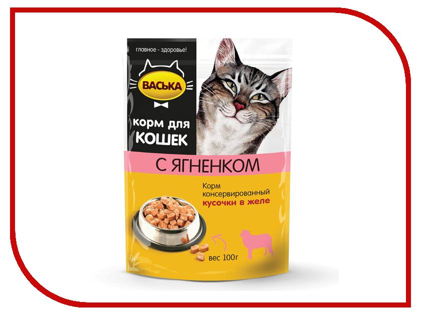 Корм Васька Пауч кусочки в желе Ягнёнок 100г для кошек 100006 консервы васька для кошек с лососем в желе 100 г