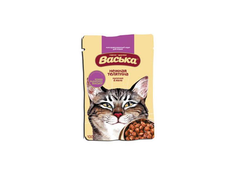 Корм Васька Пауч кусочки в желе Нежная Телятина 100г 100004 для кошек