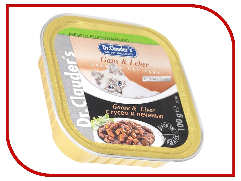 Корм Dr.Clauders Гусь/Печень 100g для кошек 211116