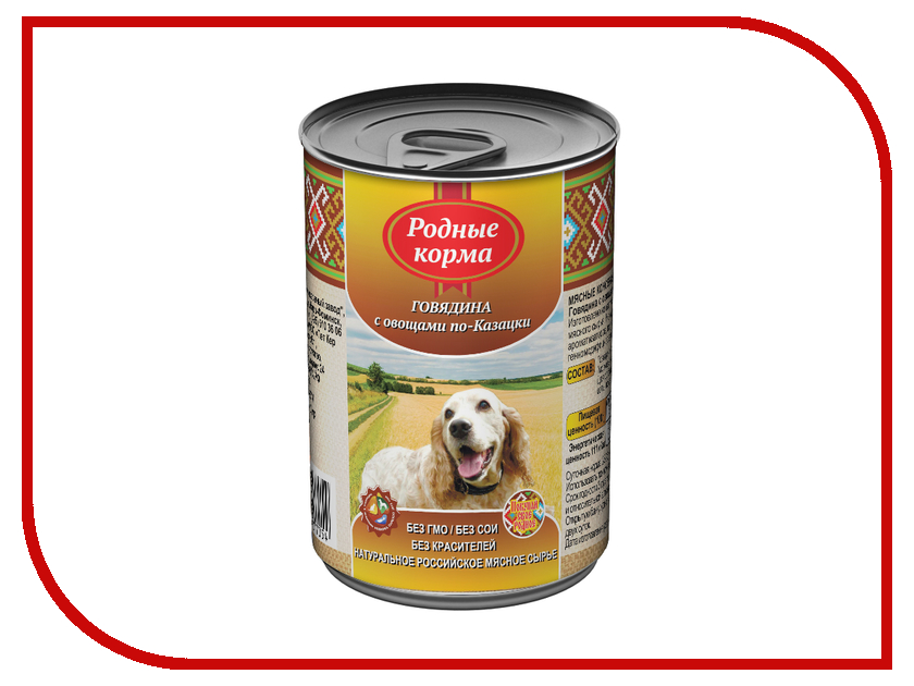 Корм Родные Корма Говядина с овощами по казацки 410г для собак 60175