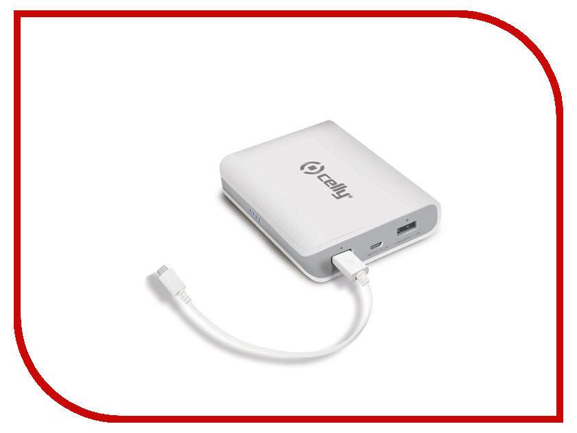 Аккумулятор Celly Power Bank 8000 mAh 2.1A White PB8000WH<br>