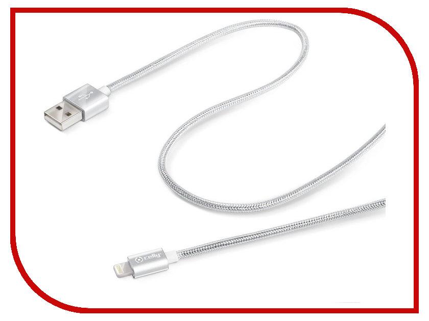 Аксессуар Celly MFi USB-Lightning Silver USBLIGHTTEXSV<br>