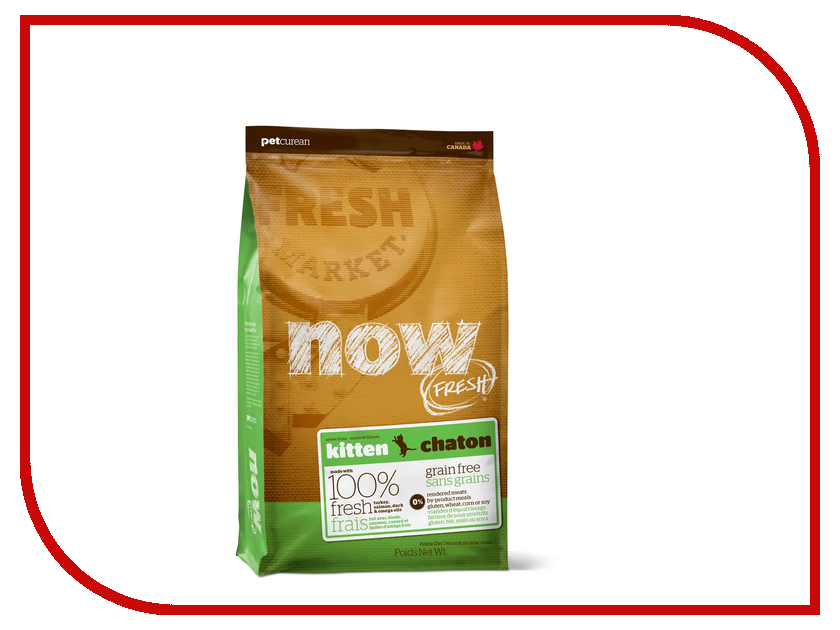 Корм Now Fresh беззерновой с Индейкой, уткой и овощами 1.82кг для котят 03742 корм now fresh беззерновой с индейкой уткой и овощами 230г для котят 03735