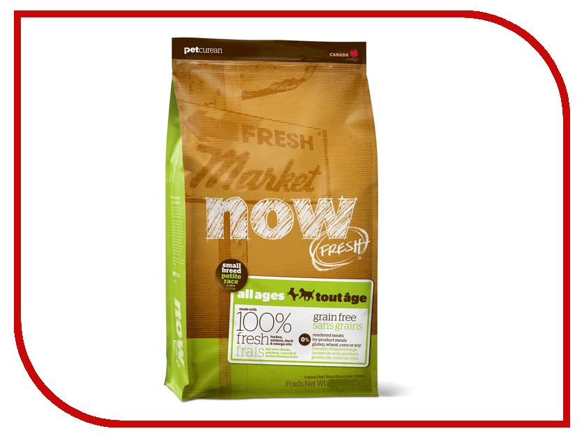 Корм Now Fresh беззерновой с Индейкой, уткой и овощами 5.45кг для собак малых пород 03452 корм now fresh беззерновой с индейкой уткой и овощами 230г для котят 03735