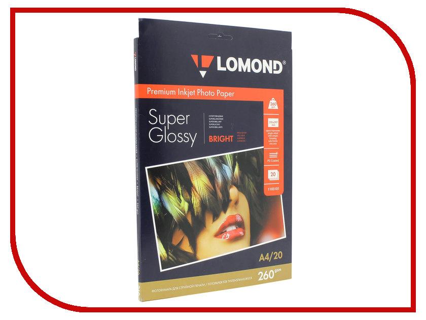 Фотобумага Lomond 1103101 суперглянцевая Bright White 260g/m2 A4 20 листов<br>