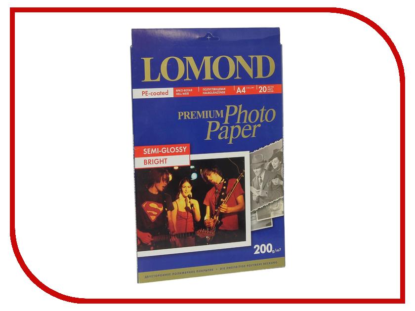 Фотобумага Lomond 0102149 полуглянцевая 200g/m2 A4 20 листов